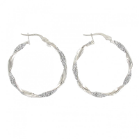 9ct White Gold Sparkle Twist Hoop Earring
