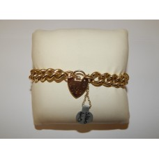 Pre-owned 9ct Yellow Gold Solid Link Curb Padlock Bracelet