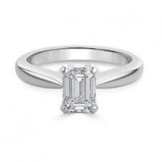 18ct White Gold Emerald Cut Single Stone Diamond Ring