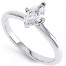 18ct White Gold Marquise Cut Single Stone Diamond Ring