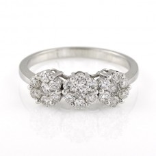 9ct White Gold Triple Diamond Daisy Cluster Ring
