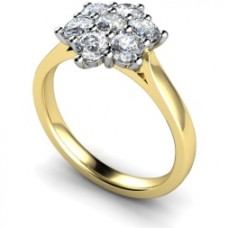 18ct Yellow Gold 7 stone Diamond Flower Cluster Ring