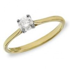 18ct Yellow Gold Single Stone Diamond Ring