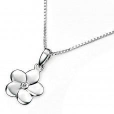 D For Diamond Sterling Silver Flower Pendant