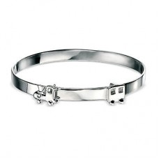 D for Diamond Boy's Silver Little Train Bangle