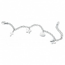 D for Diamond Four Charm Silver Diamond Bracelet