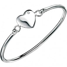 D for Diamond Heart Silver Flip Open Bangle