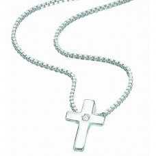 D for Diamond Silver Cross Pendant
