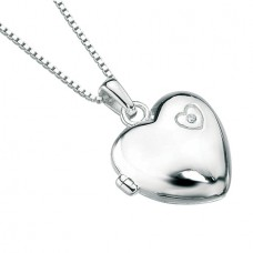 D for Diamond Engraved Heart Silver Locket