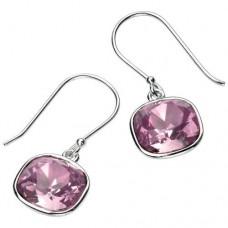 Elements Silver Pink Swarovski Crystal Drop Earrings