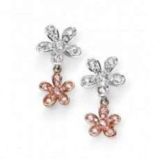 Elements Sterling Silver And Gold Plated Flowers Stud Earring