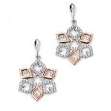 Elements Sterling Silver & Rose Gold Plated CZ Flower Earring