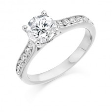 Platinum Diamond Ring With Diamond Shoulders